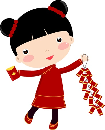 New Year Greetings_Girl  Vector
