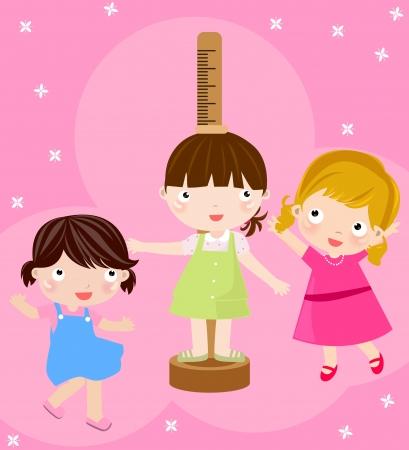 pediatric: Girl checking her height