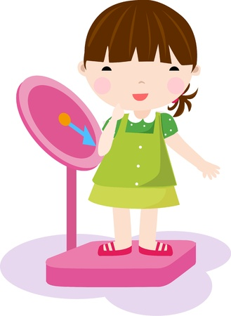 weighing: Girl checking her weight on a scale