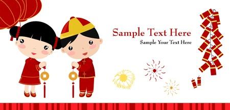 niños chinos: Greetings_boy Año Nuevo y una niña