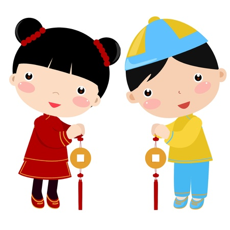 New Year Greetings_boy and girl  Vector