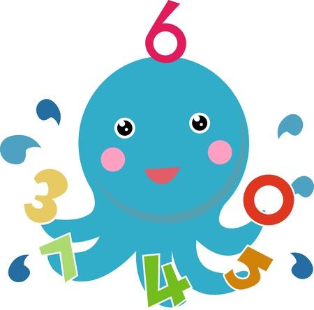 children s book: math octopus Illustration