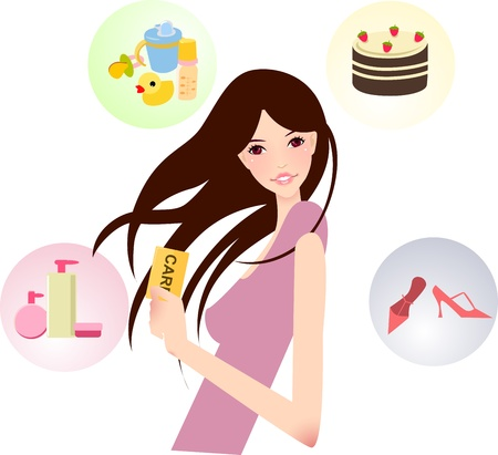 girl with card  Vector