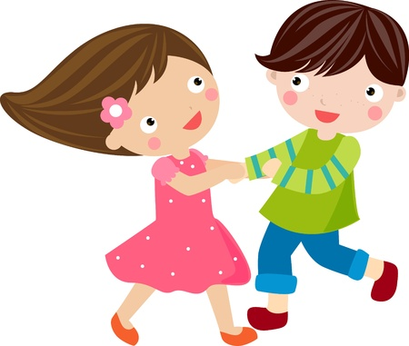 Happy dancing boy and girl  Vector