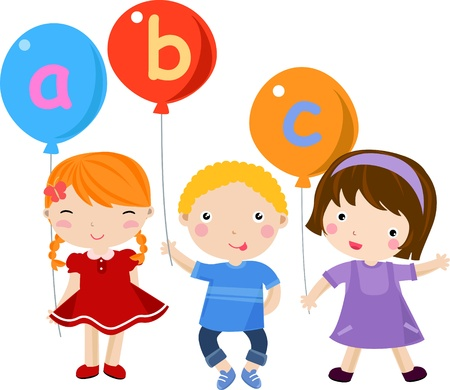 ni�os negros: Cute feliz con globos Vectores