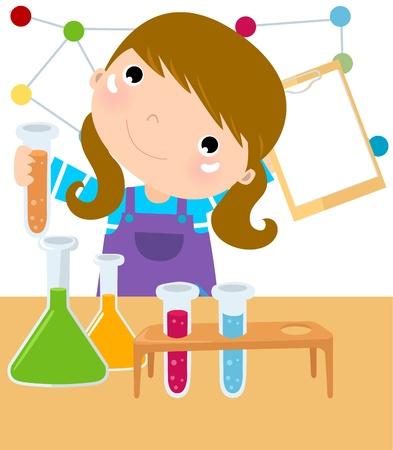 ラボで薬剤を混合の若い女の子  イラスト・ベクター素材