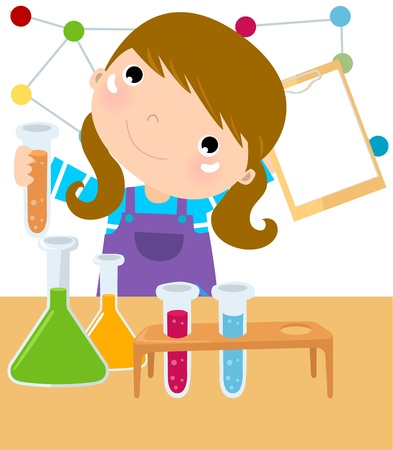 scientific experiment: young girl mixes chemicals in a lab
