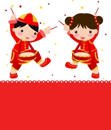 bambini cinesi: Greetings_boy Anno Nuovo e una ragazza
