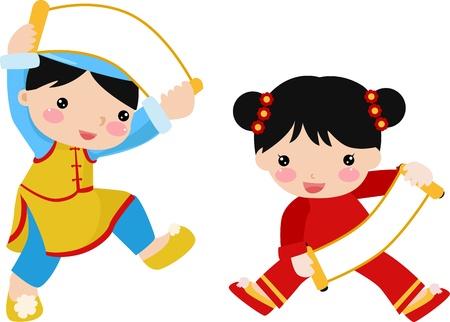 bambini cinesi: bambini ragazzo e una ragazza Vettoriali
