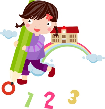 A little girl writing Vector