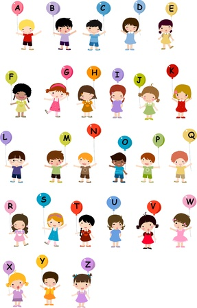 Kids with alphabet.  Vector