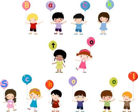 kinderen en ballon Stock Illustratie