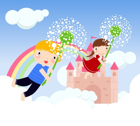 flower age: boy and girl flying Illustration