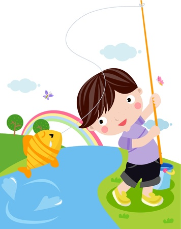 ice fishing: fishing boy  Illustration