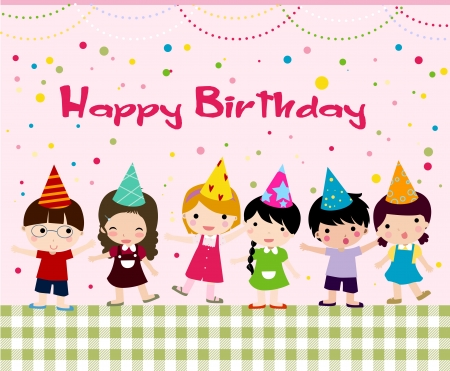 happy people white background: Birthday celebration  Illustration