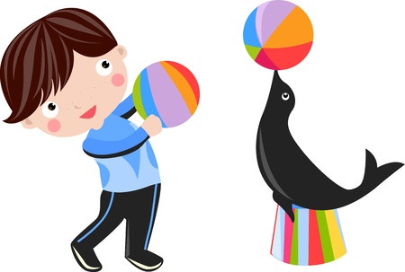 boy and seal Stock Vector - 16721470