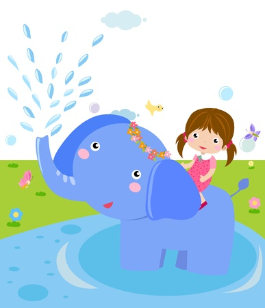 The girl and the animal  Stock Vector - 16721475