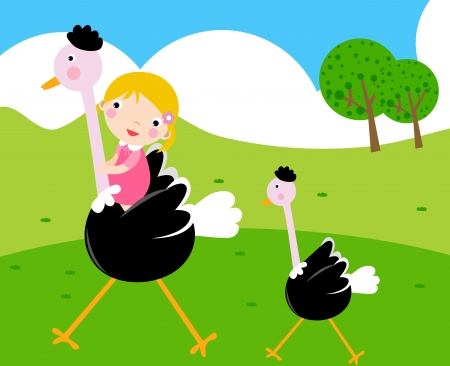 The girl and the Ostrich  Vector