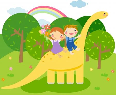 girls having fun: Children rides a dinosaur