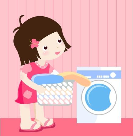 haush�lterin: Waschen Illustration