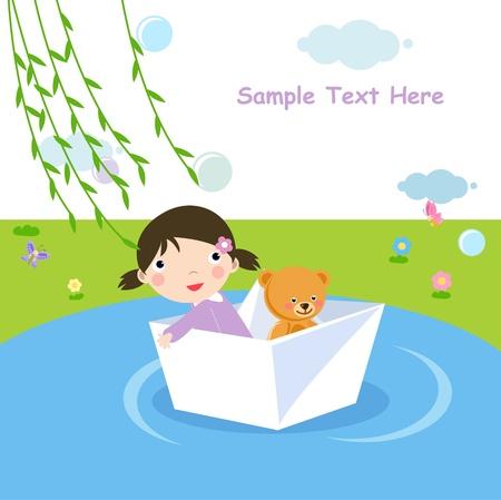 Little girl in paper boat Vector
