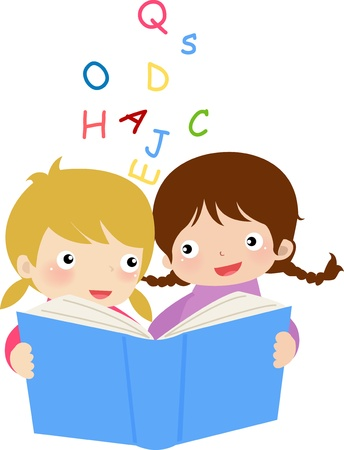 two girls reading book Vector