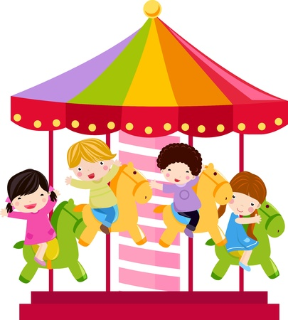 Carousel and children Vector