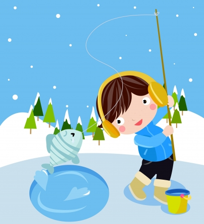 ice fishing: A boy winter fishing