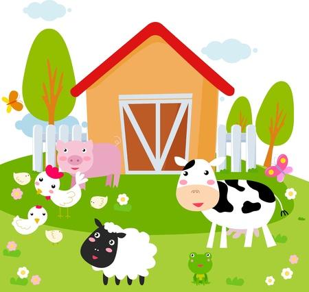 Landelijk landschap met boerderijdieren Stock Illustratie