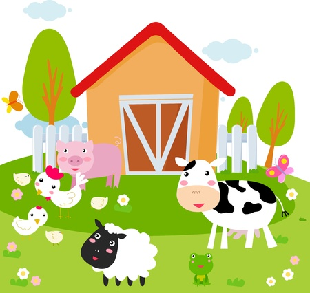 Rural landscape with farm animals   Vector