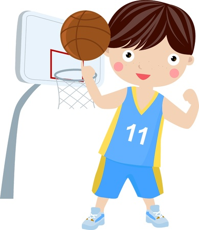 young boy holding basketball wearing sports uniform Stock Vector - 16721483