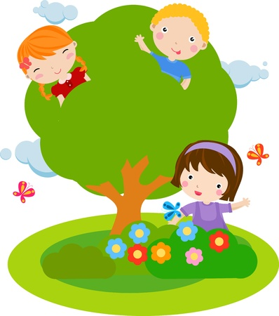 kids and tree Stock Vector - 16497412