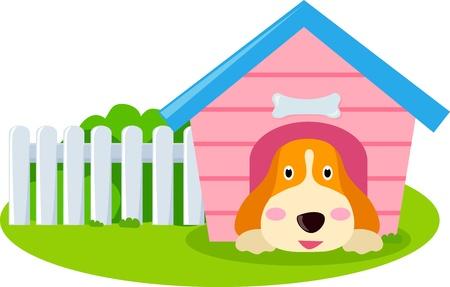犬とハウス  イラスト・ベクター素材