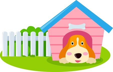 in the dog house: Dog and house  Illustration