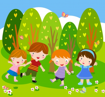 Group of children playing  Stock Vector - 16497416