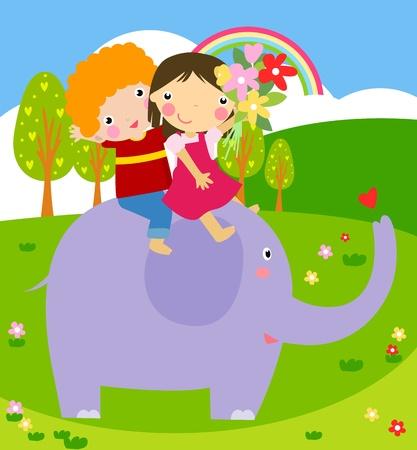 land slide: kids and a elephant