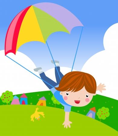 parachutist: little boy