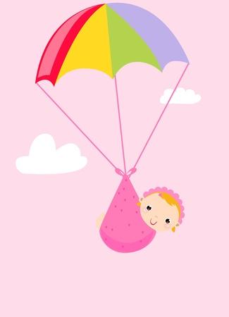 cigueña: bebé en paracaídas