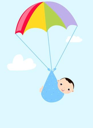spadochron: Dziecko w spadochron Ilustracja