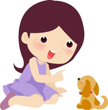 feeding: Girl with her pet dog  Illustration