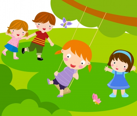 Kids Playing  Stock Vector - 16497415