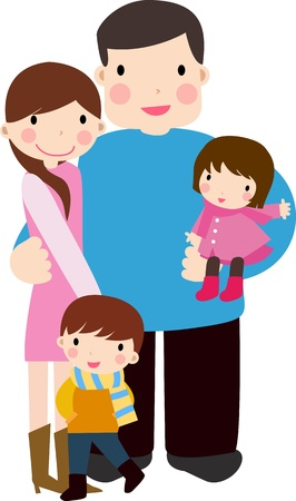 family with two children: Happy Family Illustration