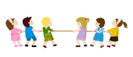Kinderen spelen - Tug of War