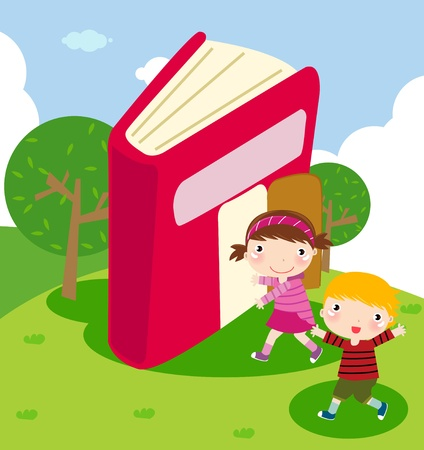Children and book  Vector