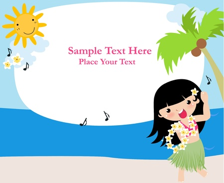 Frame with hula girl  Stock Vector - 11657042