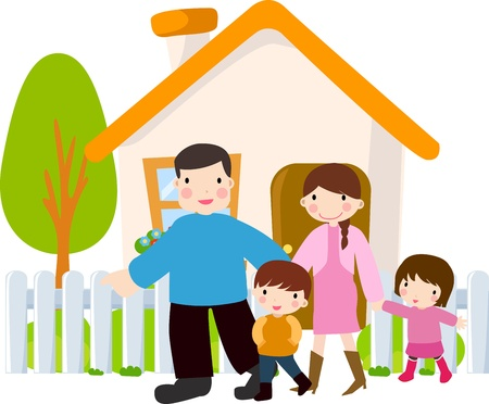 family in front of house: Happy Family