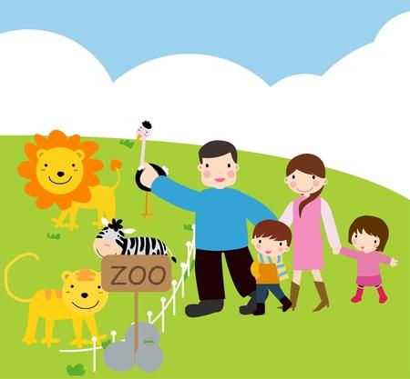 illustration zoo: famiglia visita al giardino zoologico