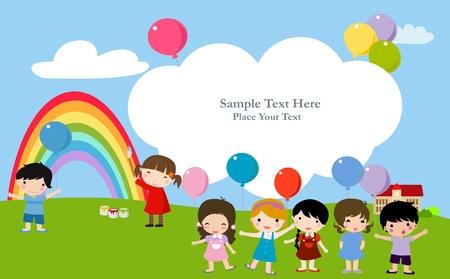 kinderen en het frame Stock Illustratie