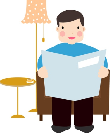 man sitting on the sofa with newspaper  Vector