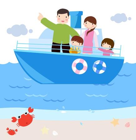 boat race: family in ship. cartoon illustration